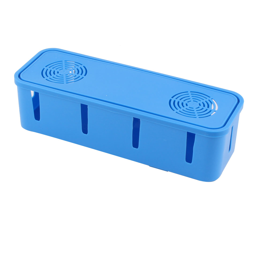 Household Plastic Rectangle Shape Power Cord Socket Storage Case Box Blue