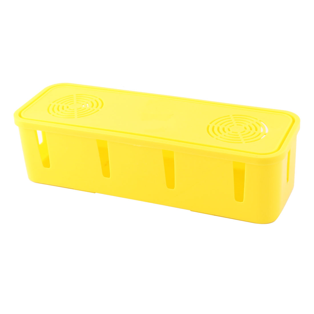 Household Plastic Rectangle Shape Power Cord Socket Storage Case Box Yellow