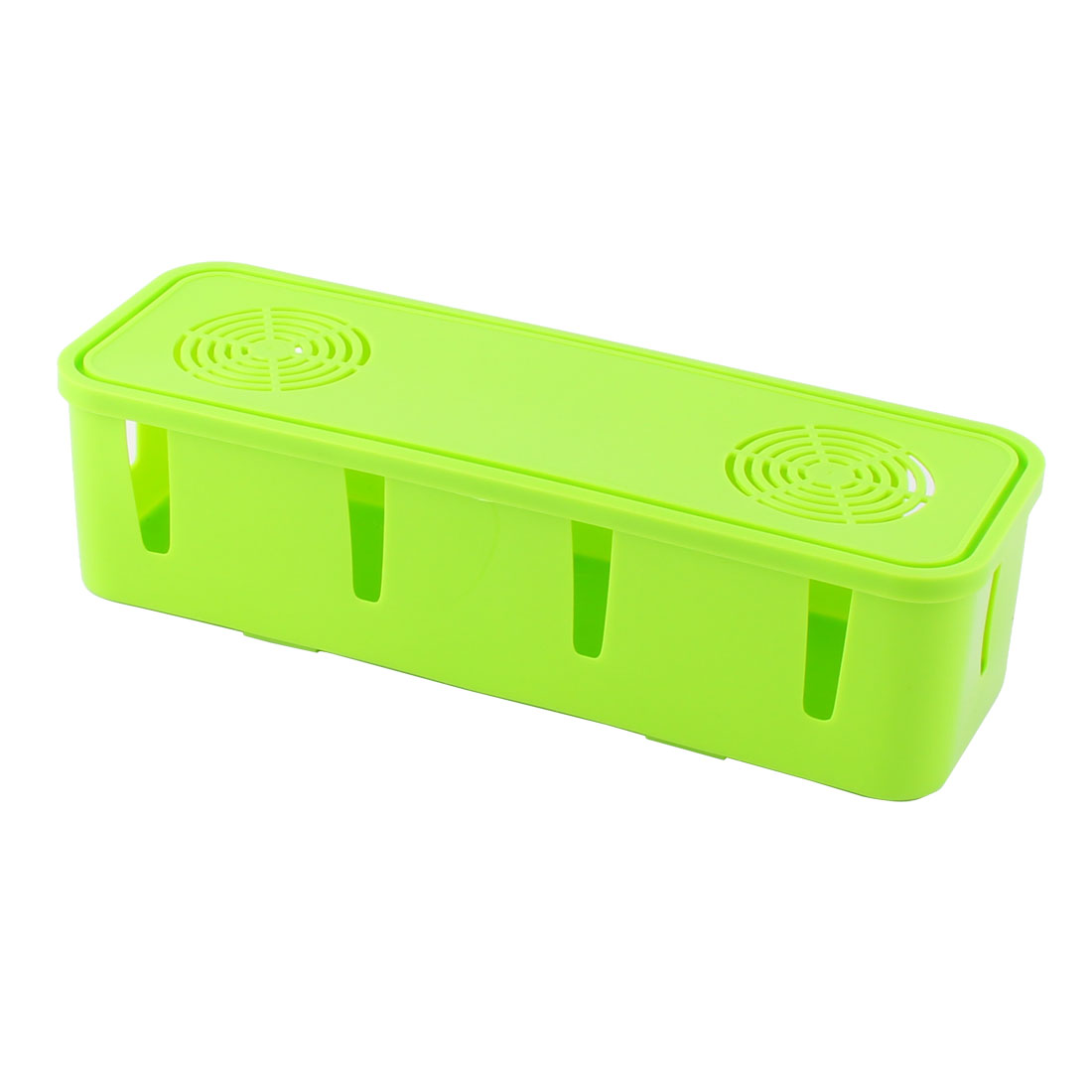 Household Plastic Rectangle Shape Power Cord Socket Storage Case Box Green