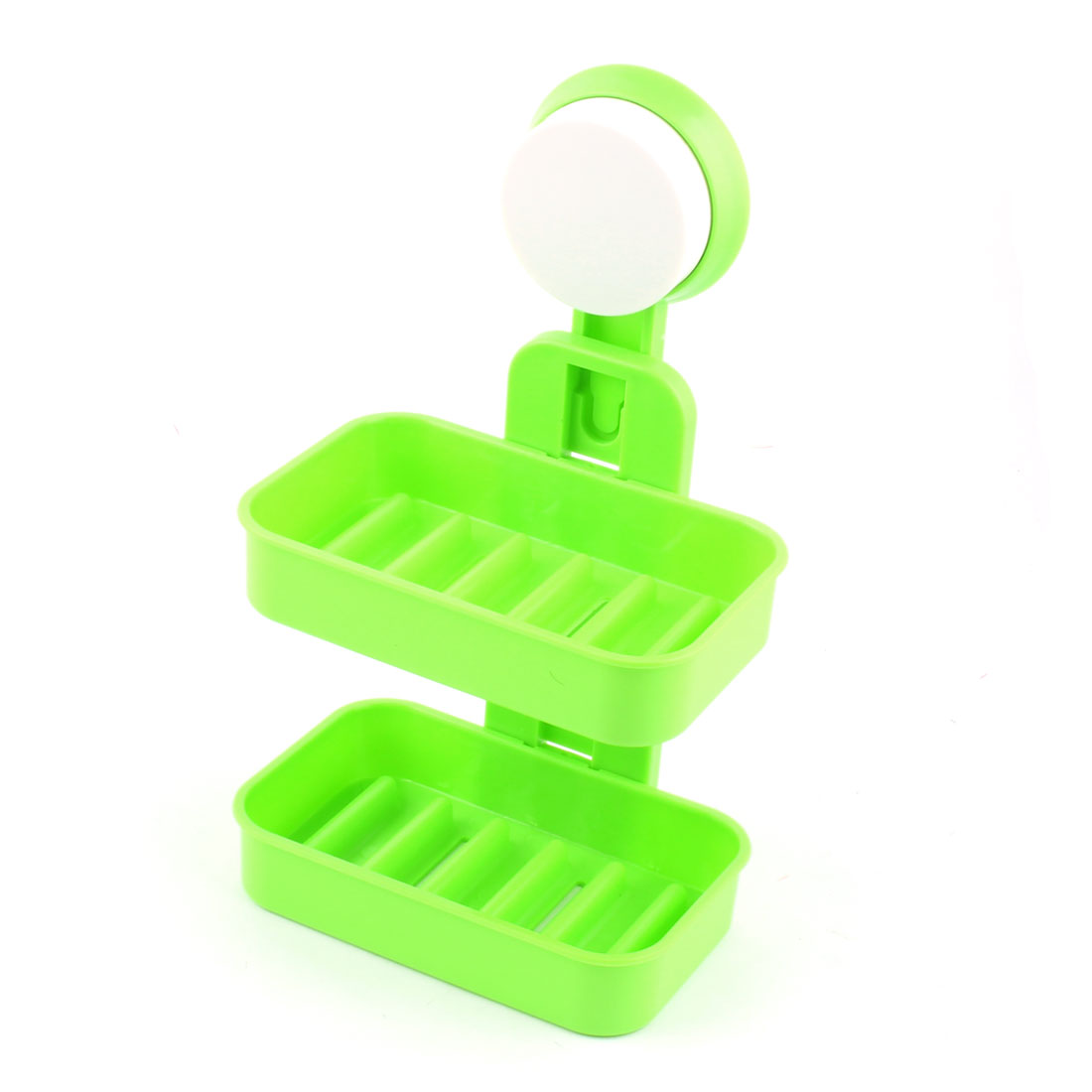 Household Bathroom Plastic 2 Layers Wall Suction Disc Soap Holder Container Box Green