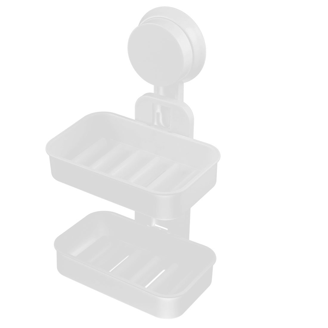 Household Bathroom Plastic 2 Layers Wall Suction Disc Soap Holder Container Box White