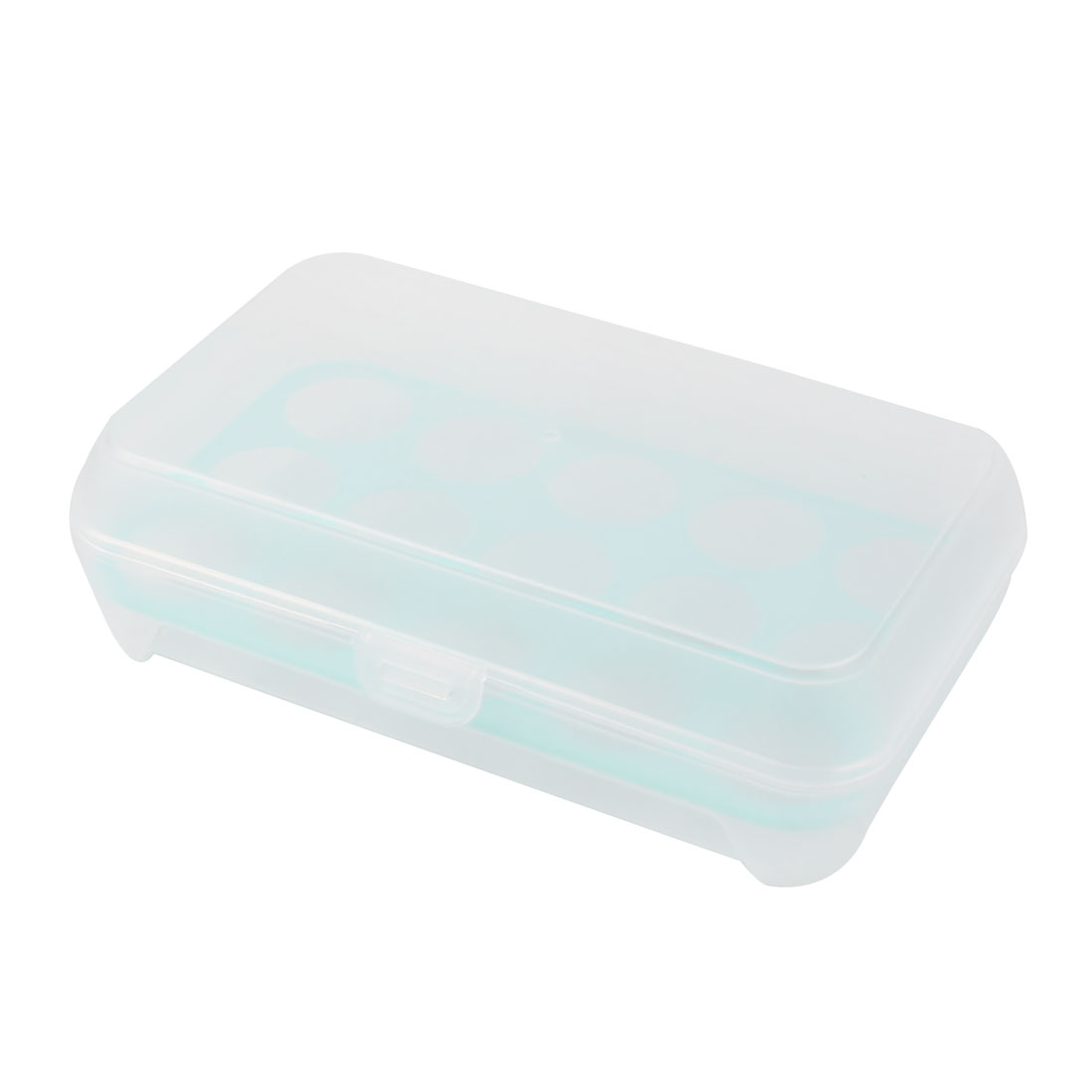 Household Kitchen Refrigerator Plastic Rectangle Shaped 15 Slots Eggs Storage Box Container Case Aquamarine