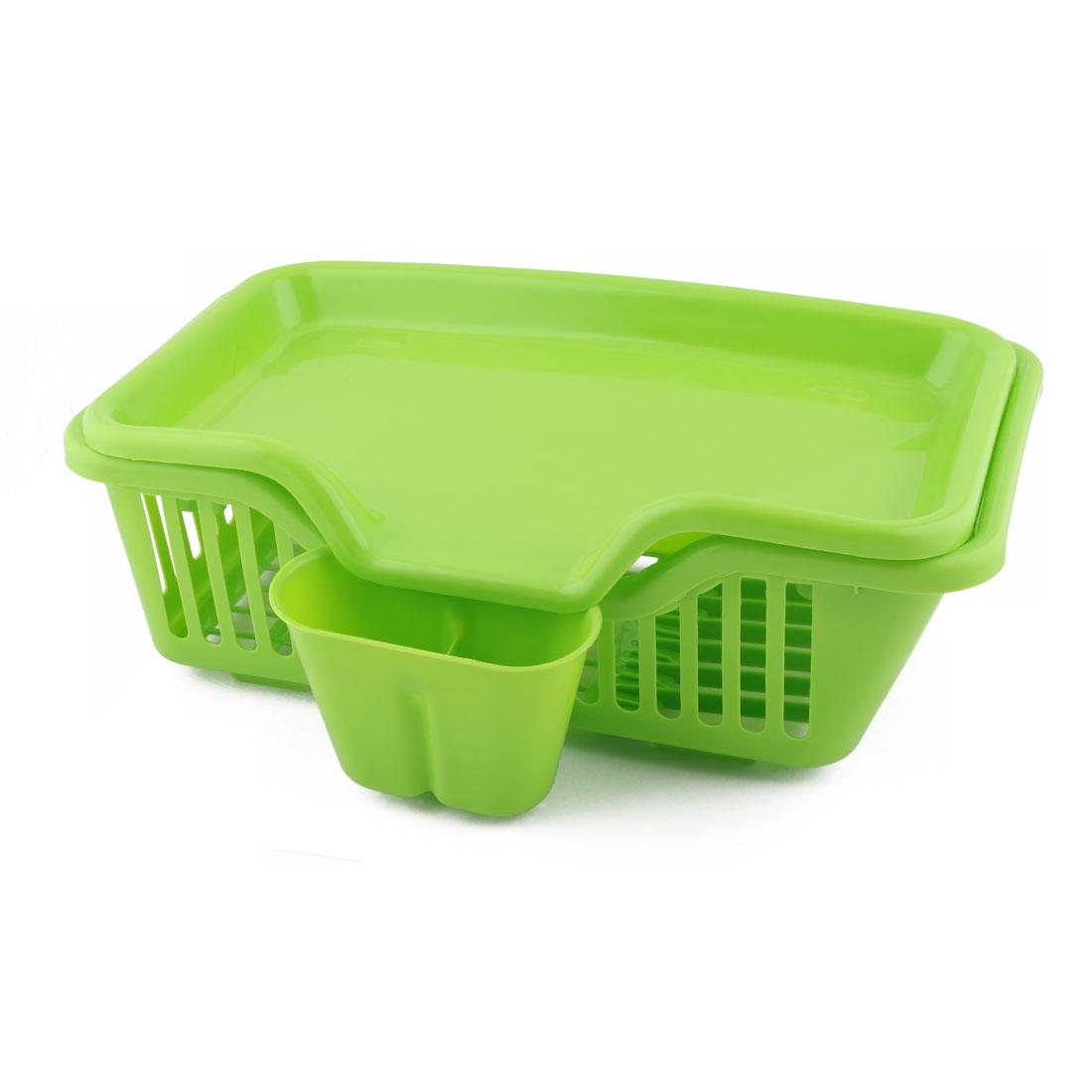 Plastic Hollow Out Design Bowl Salver Organizer Storage Plate Rack Set Green
