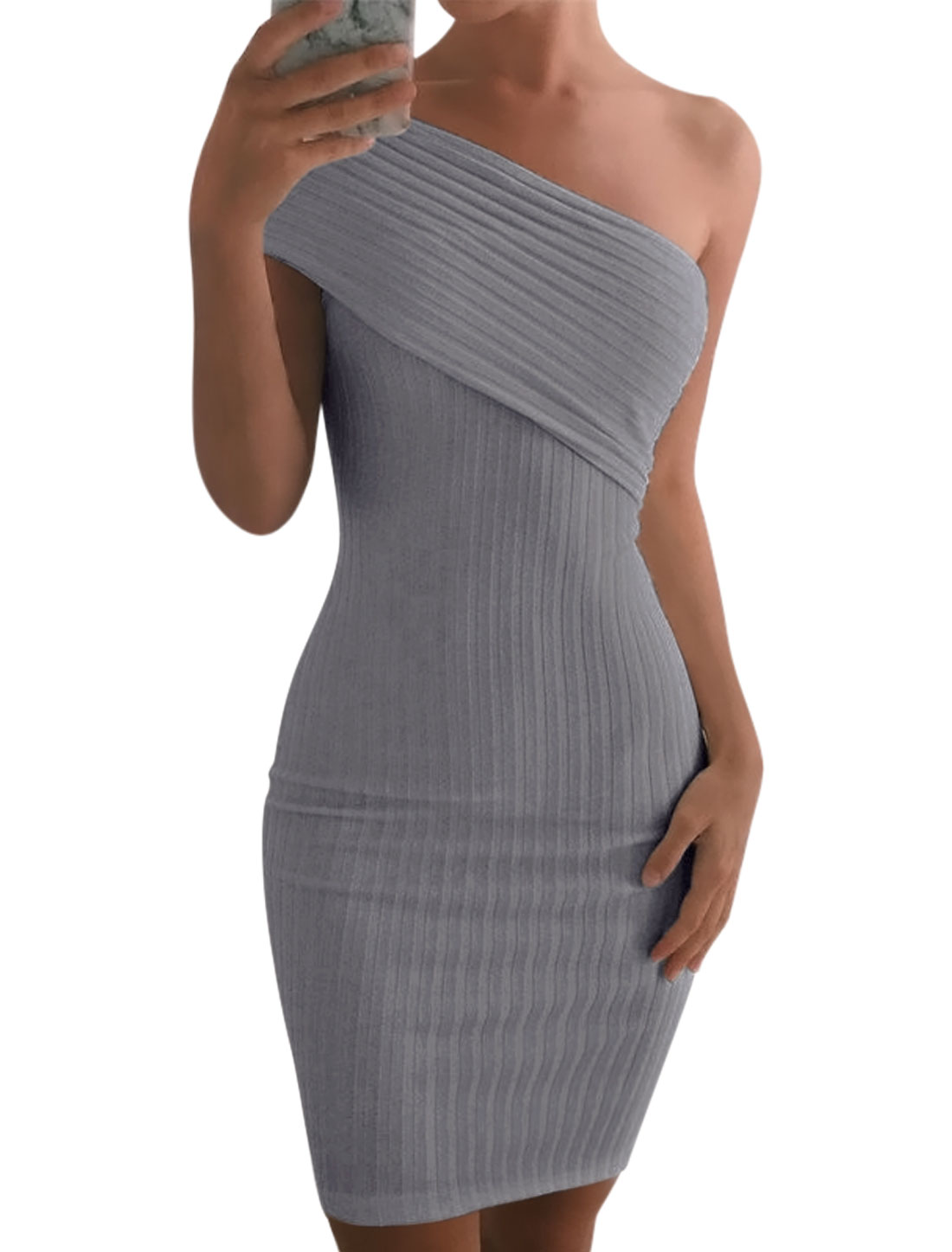 Women One Shoulder Overlay Upper Ribbed Slim Fit Tunic Dress Gray M