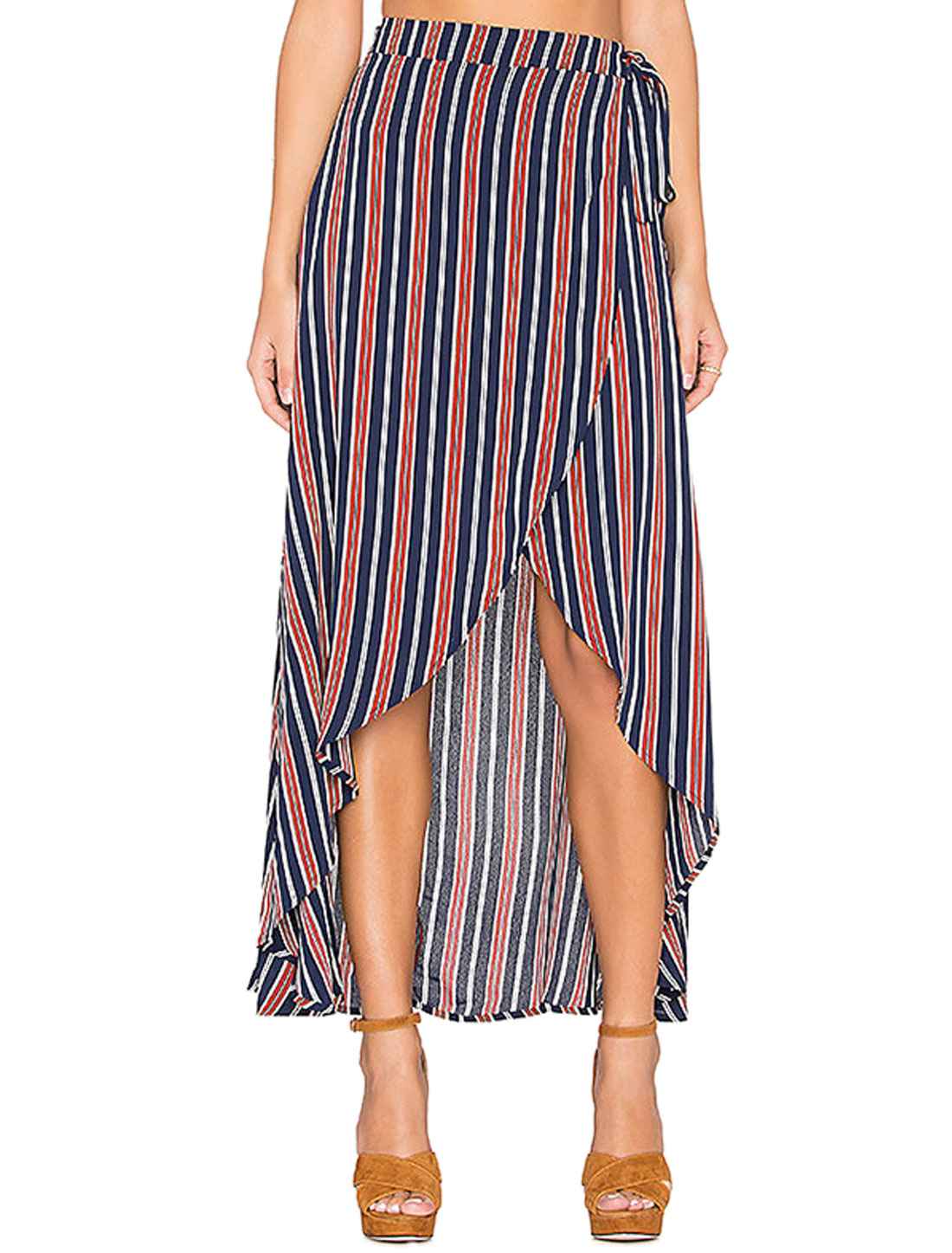 Women Stripes Contrast Color Wrap Design Belted Maxi Skirt Blue S