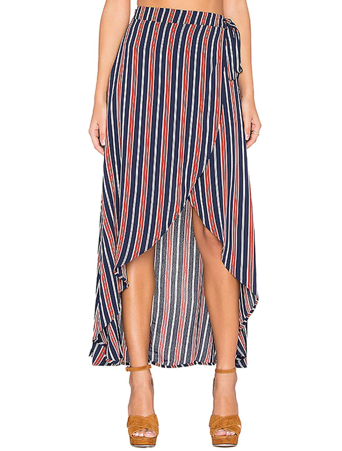 Women Stripes Contrast Color Wrap Design Belted Maxi Skirt Blue S