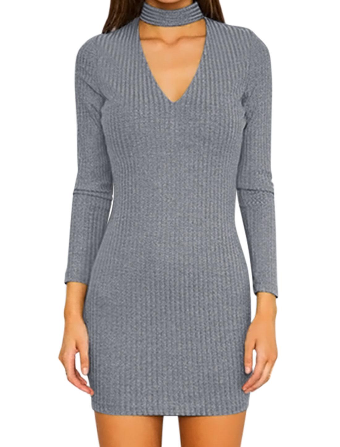 Women Choker Neck Long Sleeve Ribbed Design Tunic Sheath Dress Gray XS