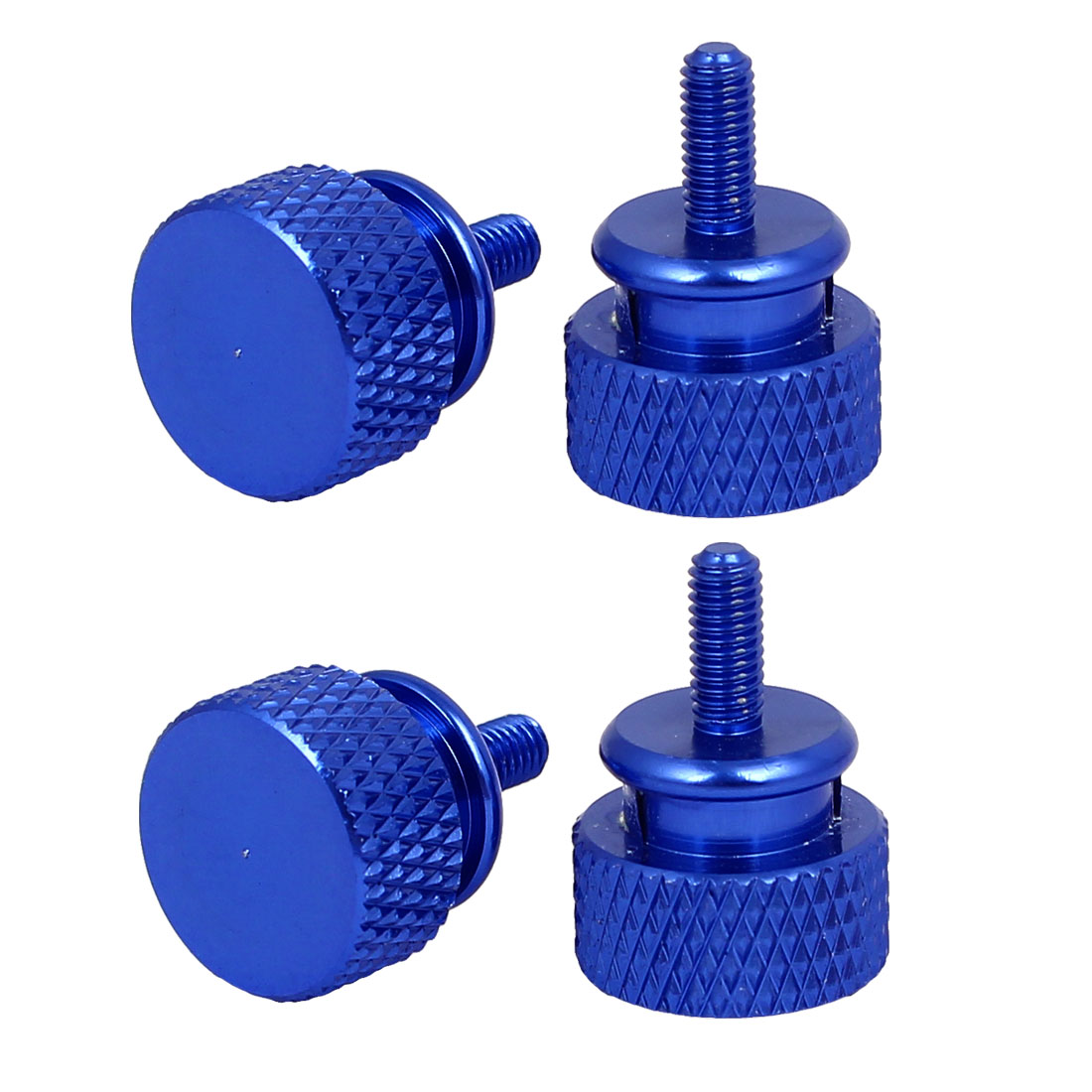 Computer PC Case Aluminum Alloy Knurled Thumb Screws Royal Blue M3x7mm 4pcs