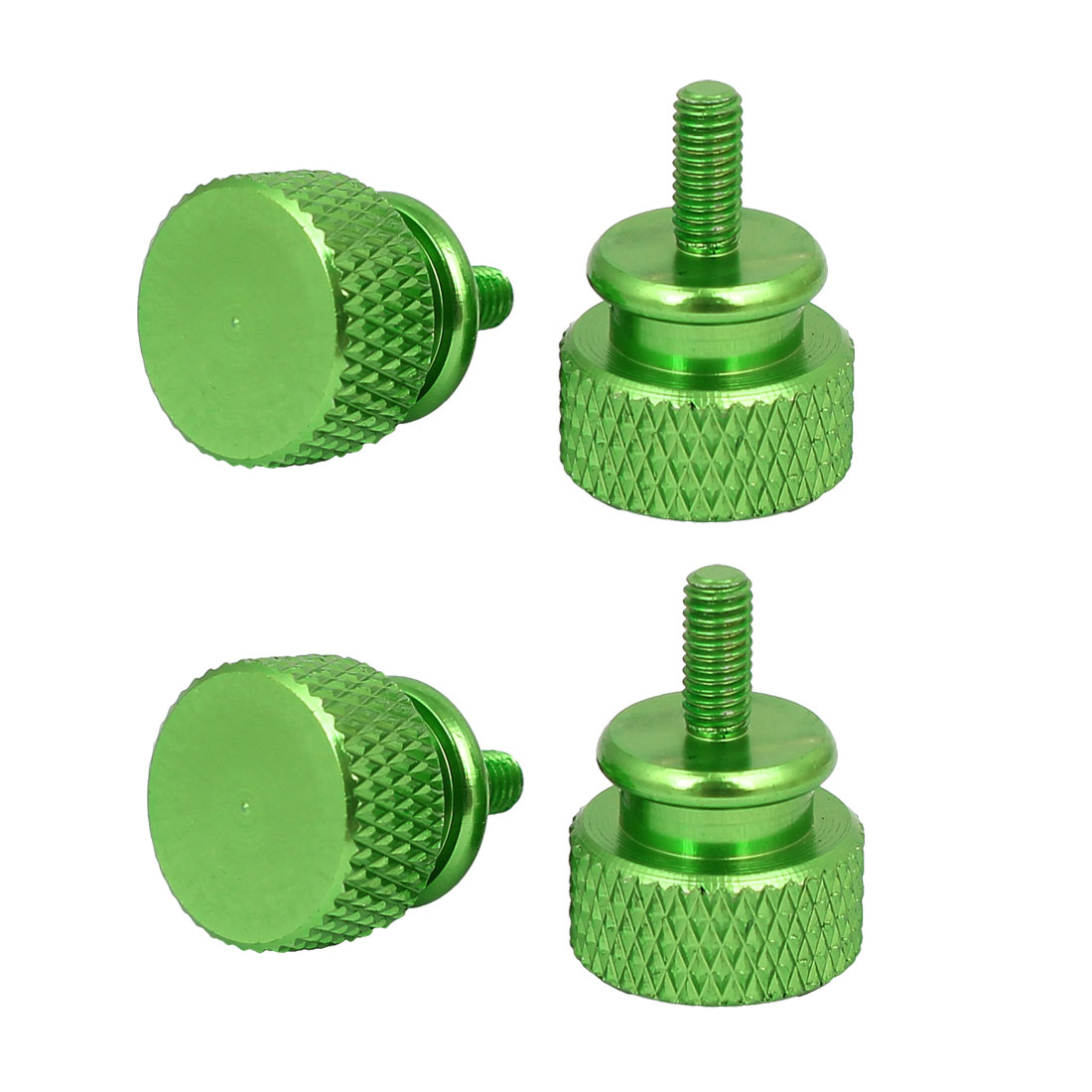 Computer PC Case Aluminum Alloy Knurled Thumb Screws Green M3x7mm 4pcs