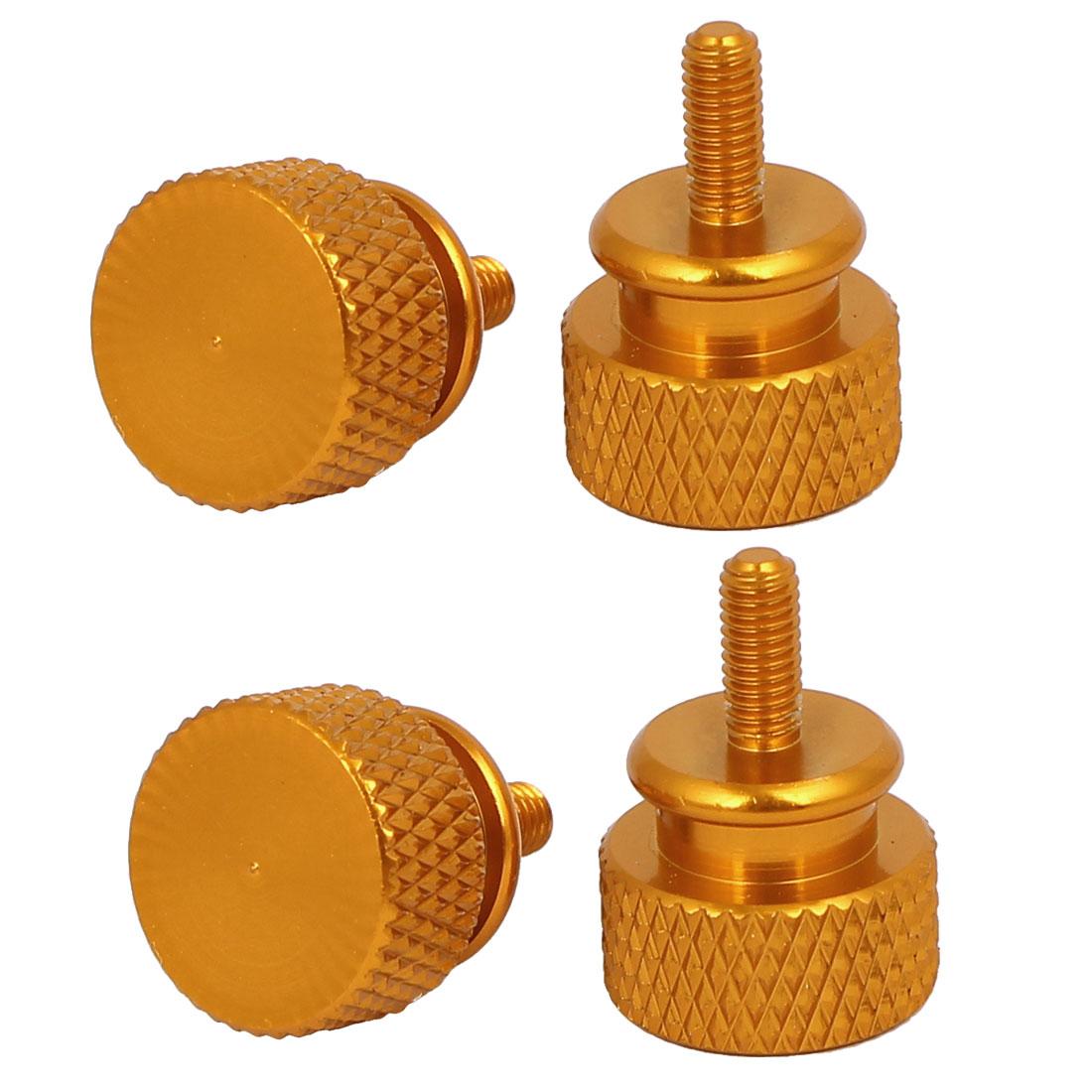 Computer PC Case Aluminum Alloy Knurled Thumb Screws Gold Tone M3x7mm 4pcs