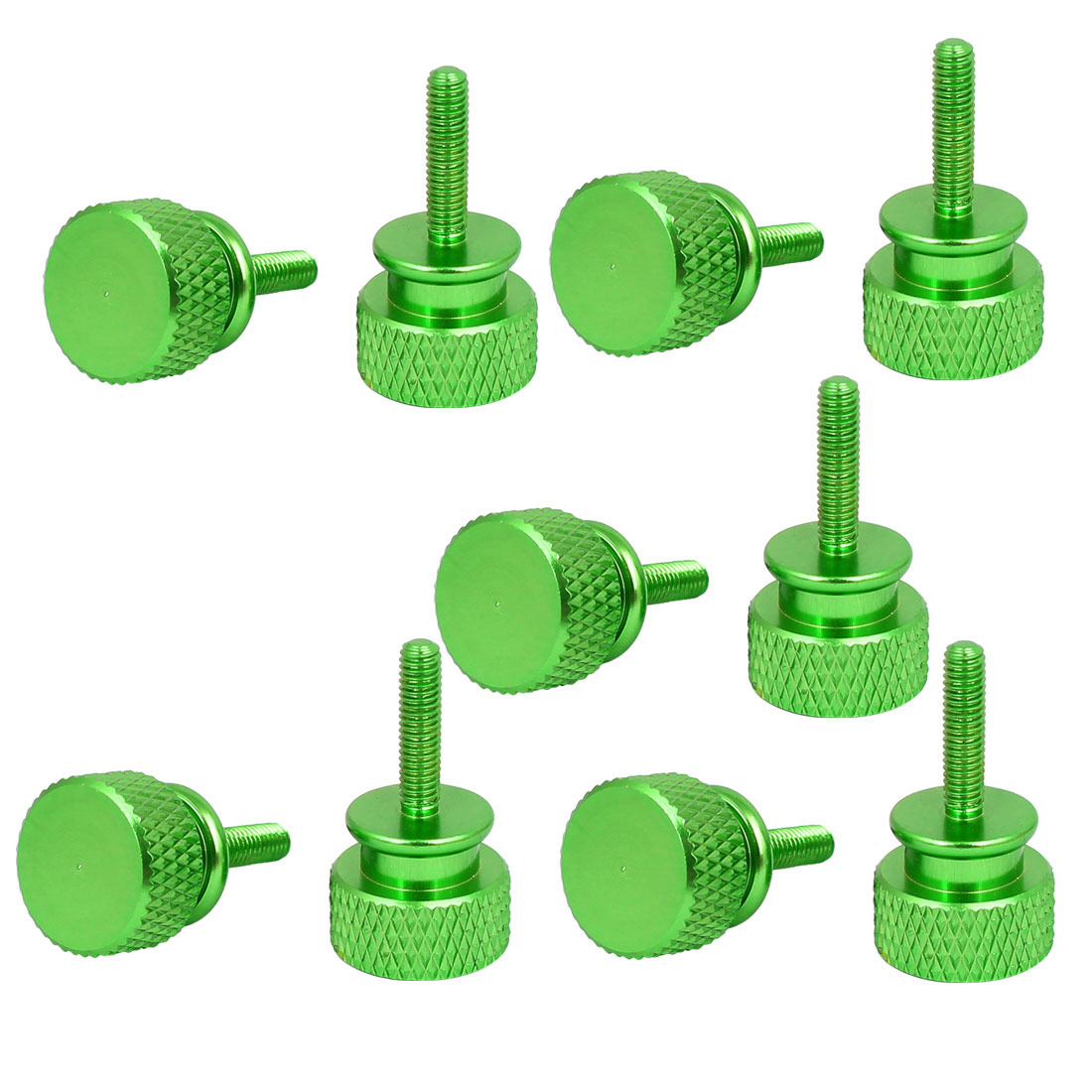 Computer PC Case Aluminum Alloy Knurled Thumb Screws Green M3x12mm 10pcs