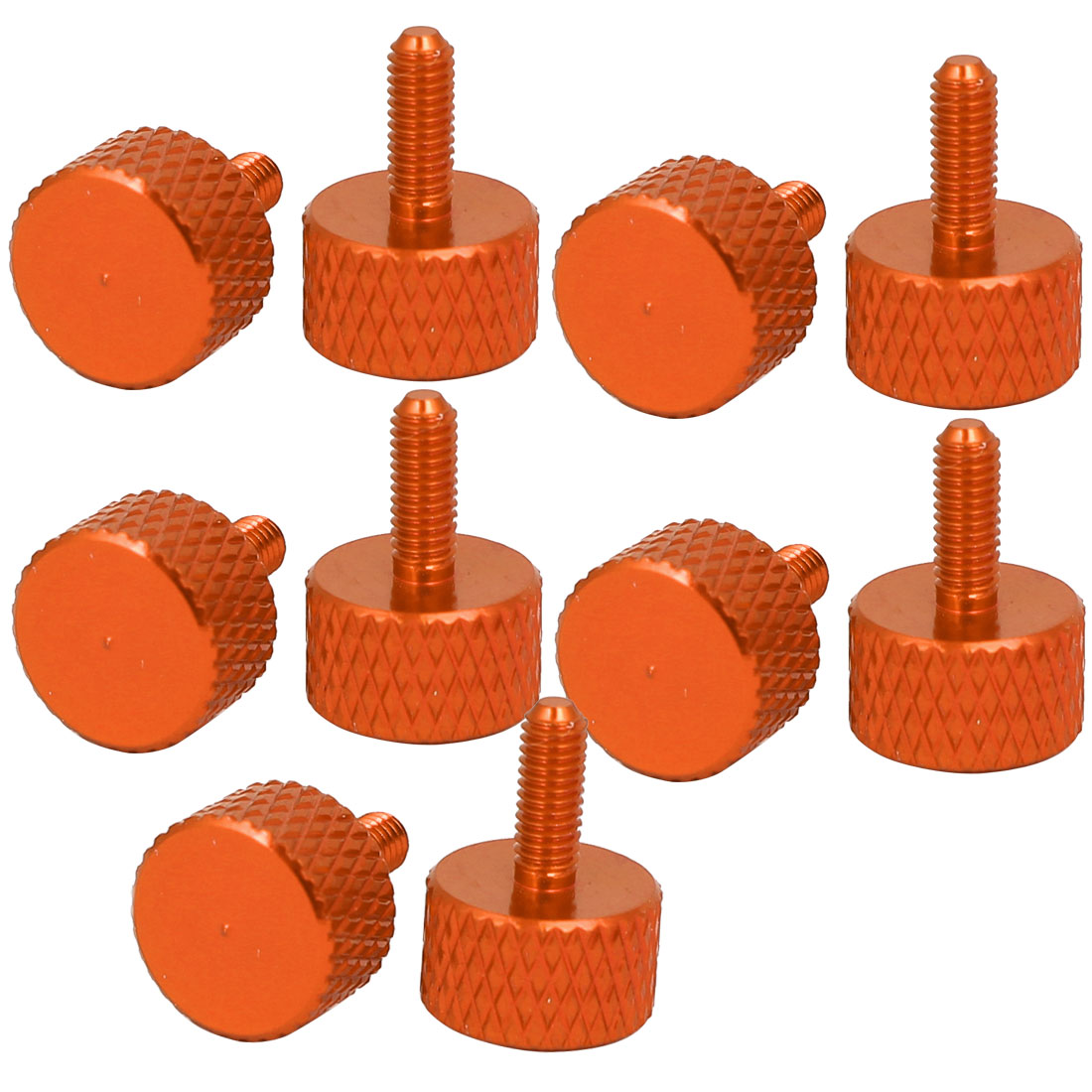 Computer PC Graphics Card Fully Threaded Knurled Thumb Screws Orange M3x8mm 10pcs