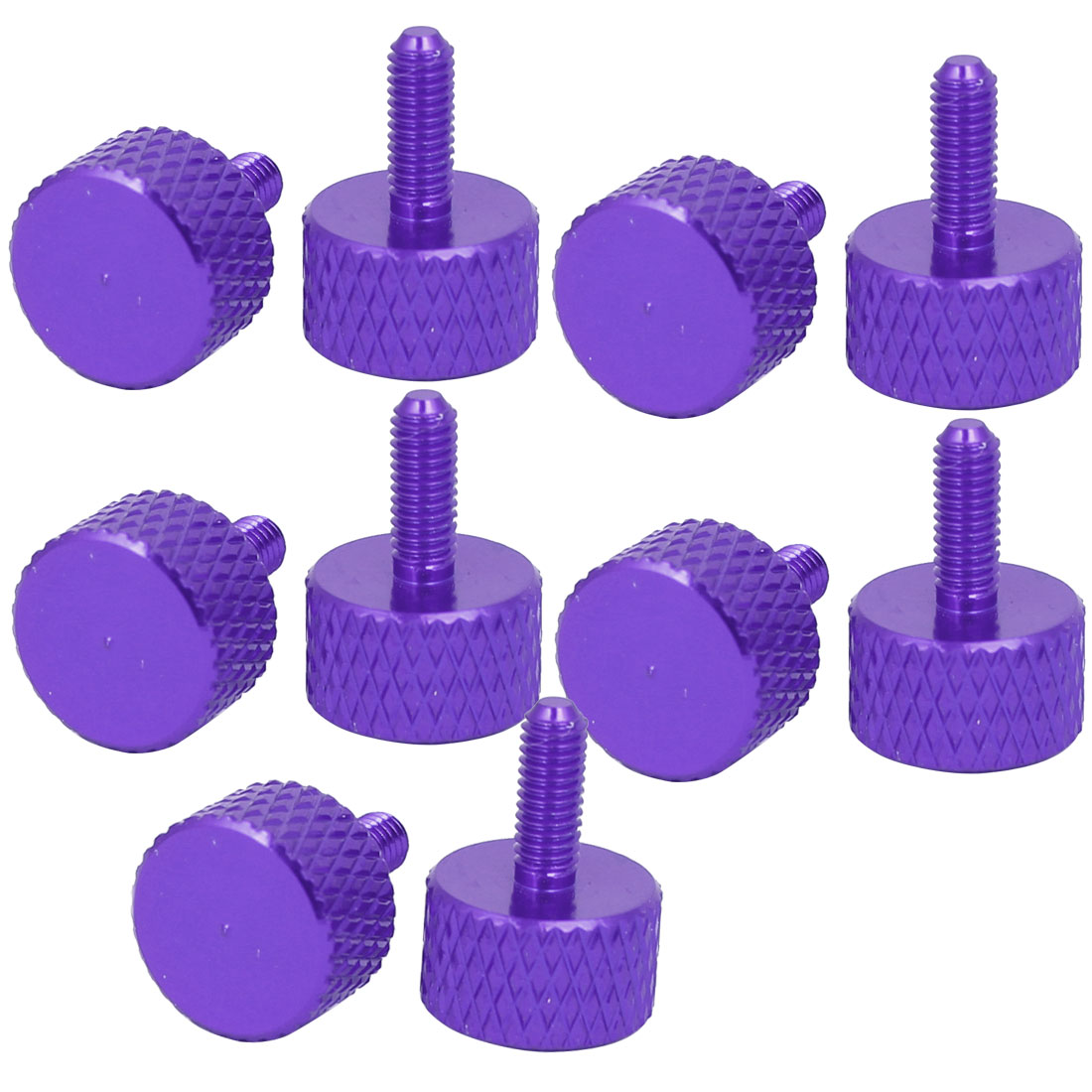 Computer PC Graphics Card Fully Threaded Knurled Thumb Screws Purple M3x8mm 10pcs