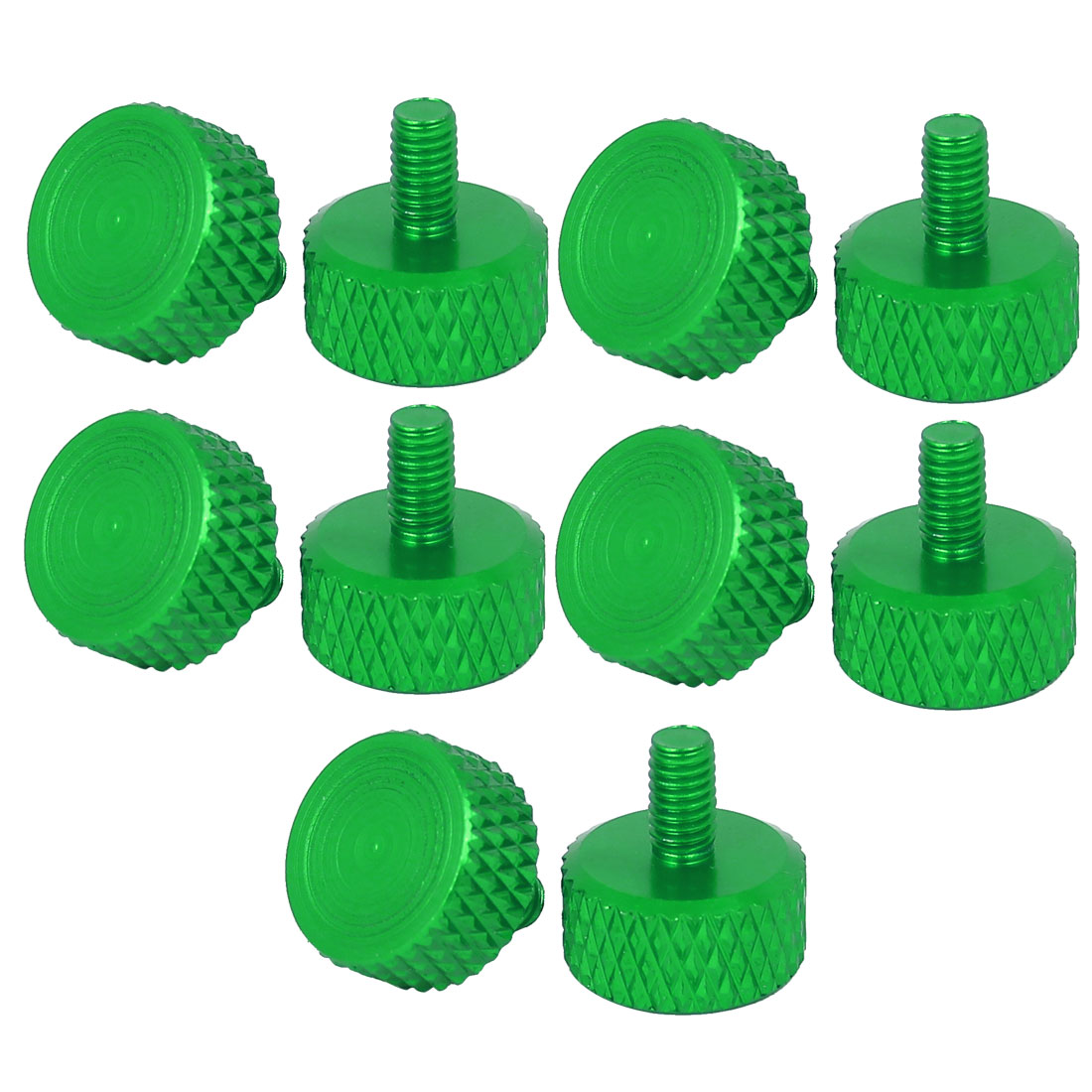 Computer PC Graphics Card Flat Head Knurled Thumb Screws Green M3.5x6mm 10pcs