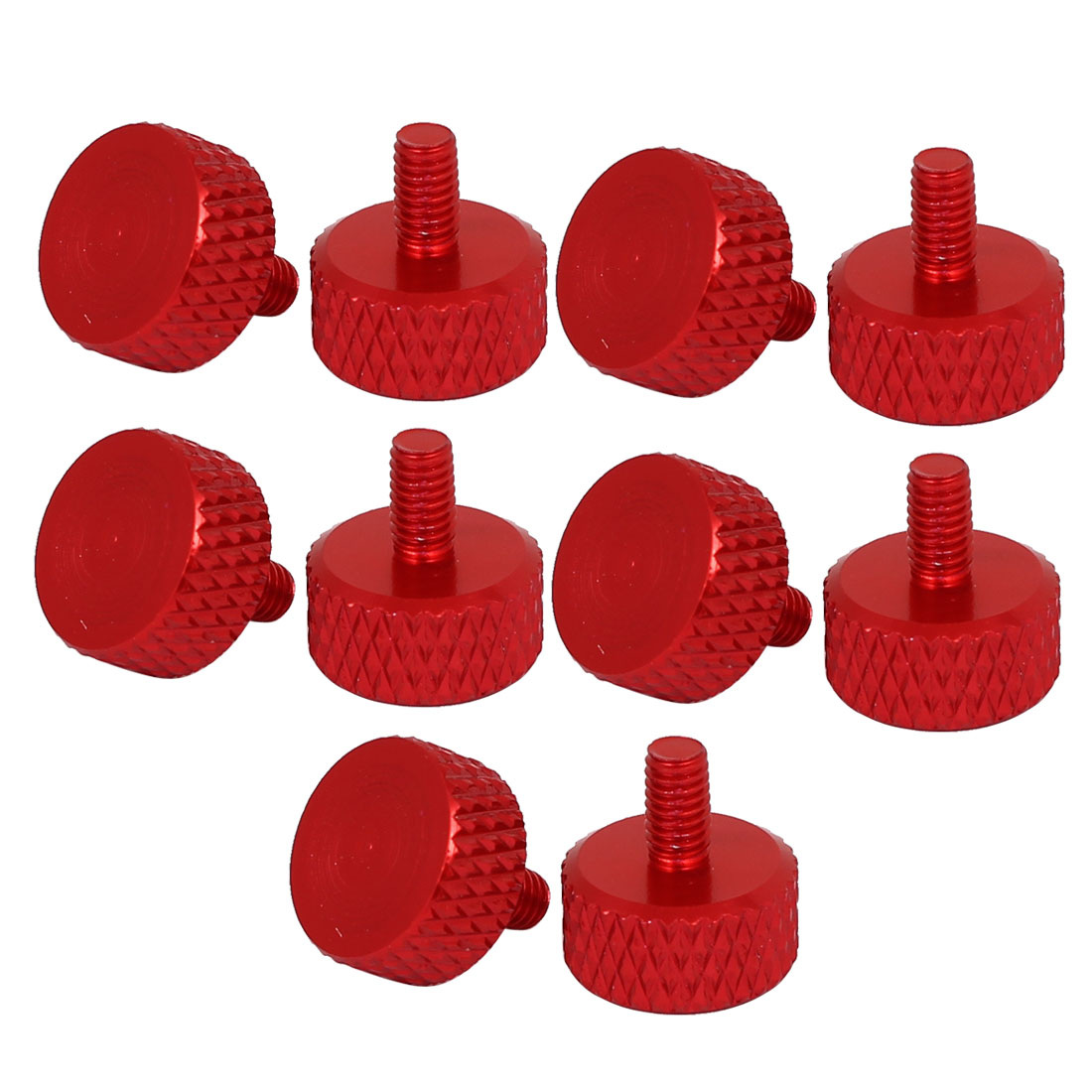 Computer PC Graphics Card Flat Head Knurled Thumb Screws Wine Red M3.5x6mm 10pcs