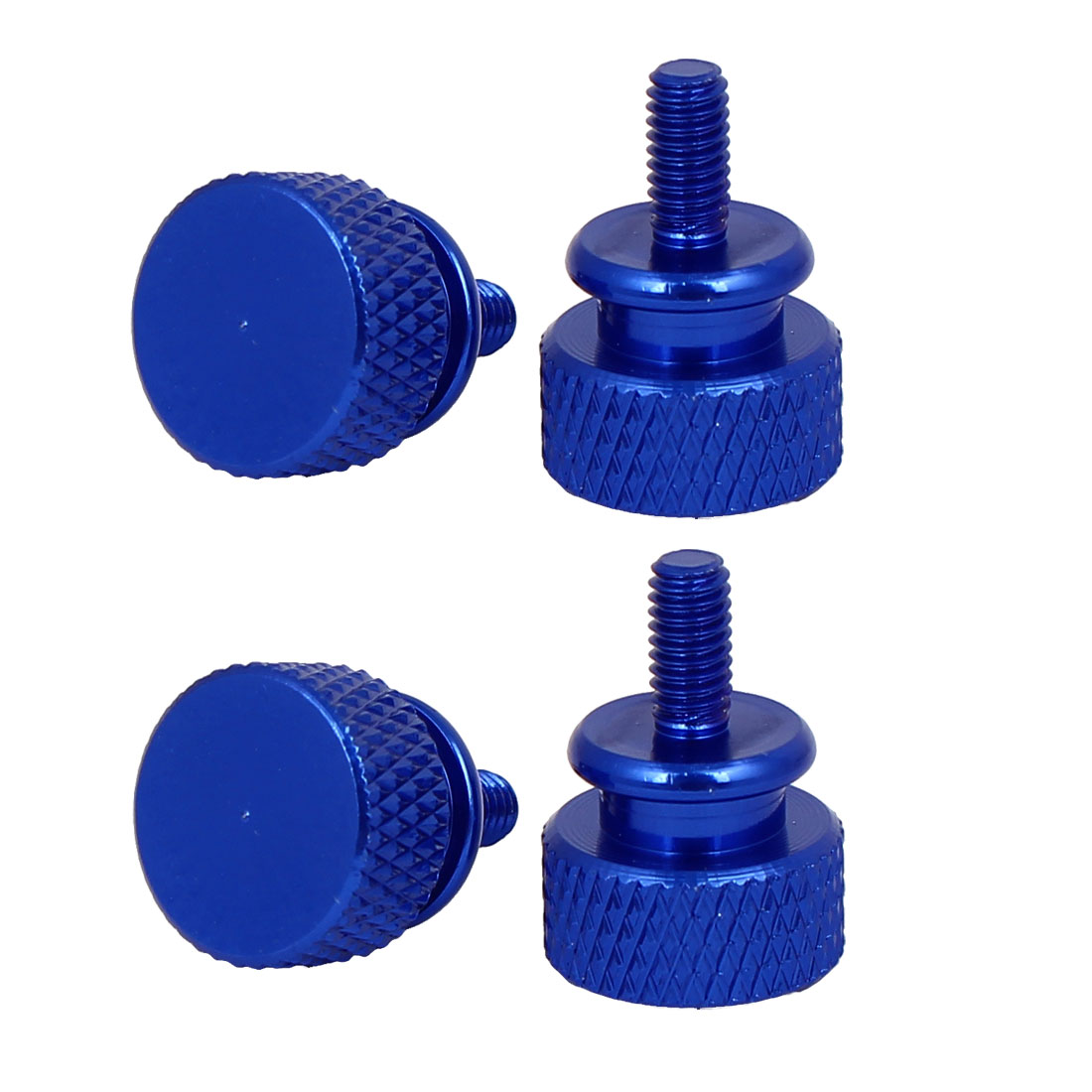 Computer PC Case Fully Threaded Knurled Thumb Screws Royal Blue M3.5x7mm 4pcs