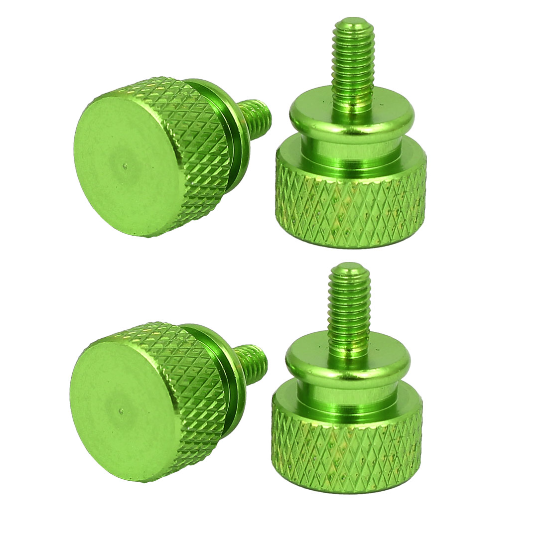 Computer PC Case Fully Threaded Knurled Thumb Screws Green M3.5x7mm 4pcs