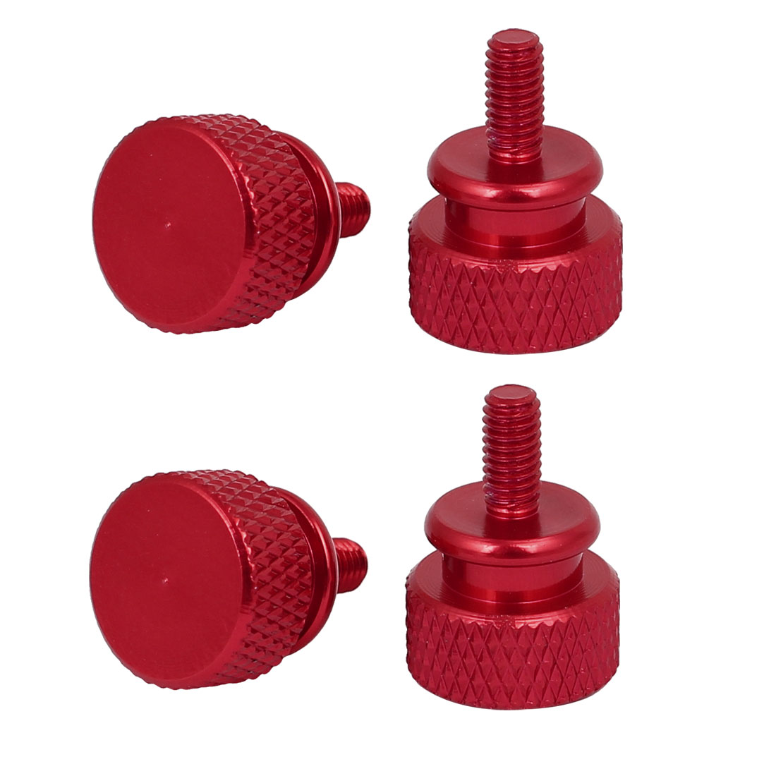 Computer PC Case Fully Threaded Knurled Thumb Screws Wine Red M3.5x7mm 4pcs