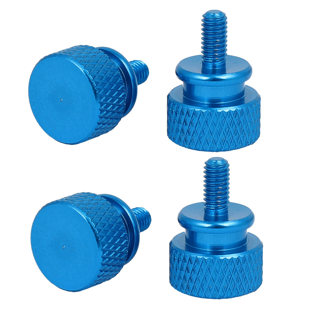 Computer PC Case Fully Threaded Knurled Thumb Screws Sky Blue M3.5x7mm 4pcs