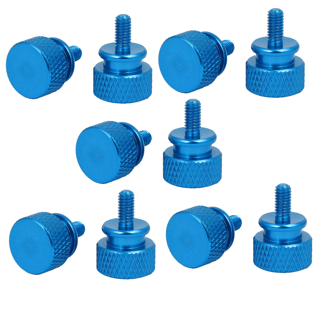 Computer PC Case Fully Threaded Knurled Thumb Screws Sky Blue M3.5x7mm 10pcs