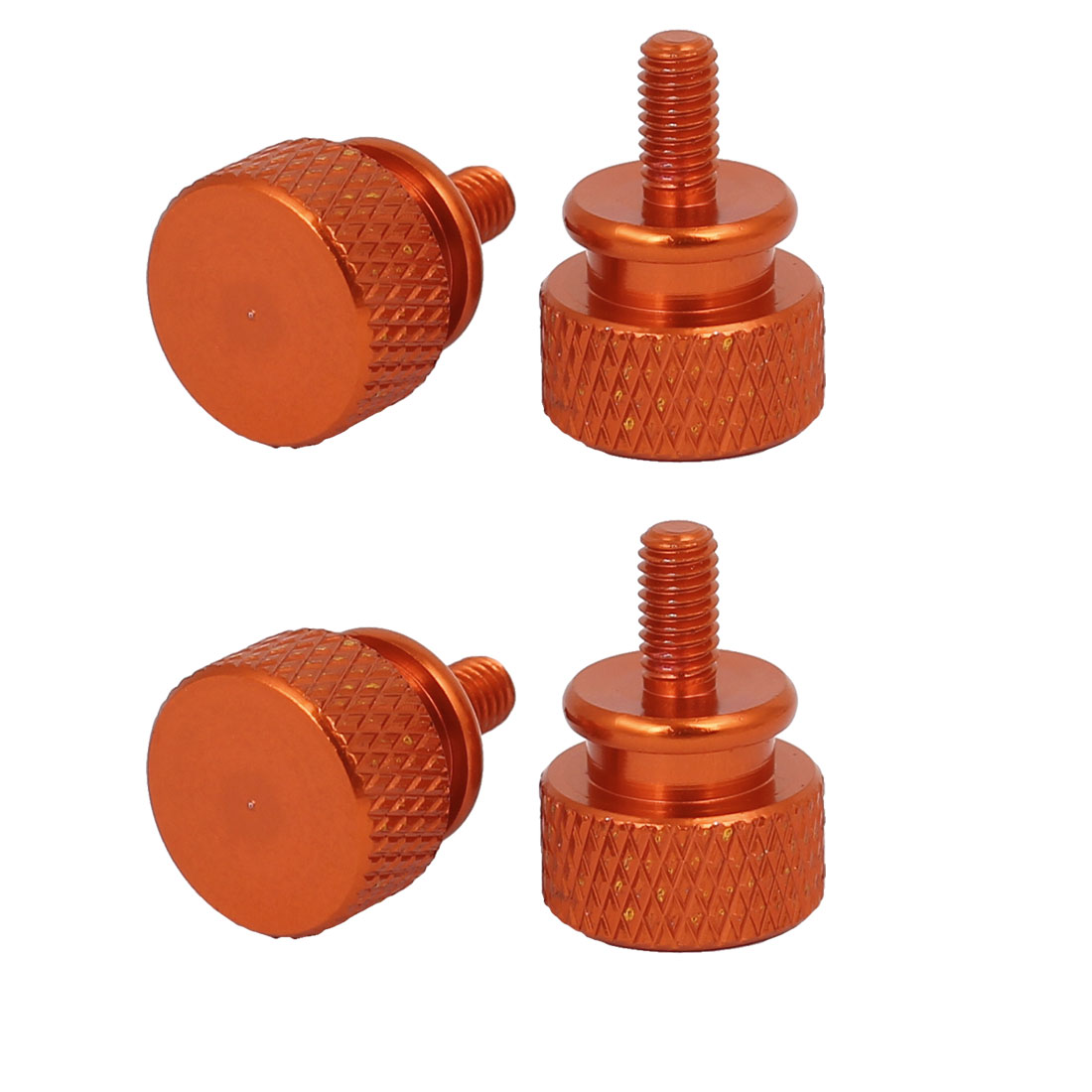 Computer PC Case Fully Threaded Knurled Thumb Screws Orange M3.5x7mm 4pcs