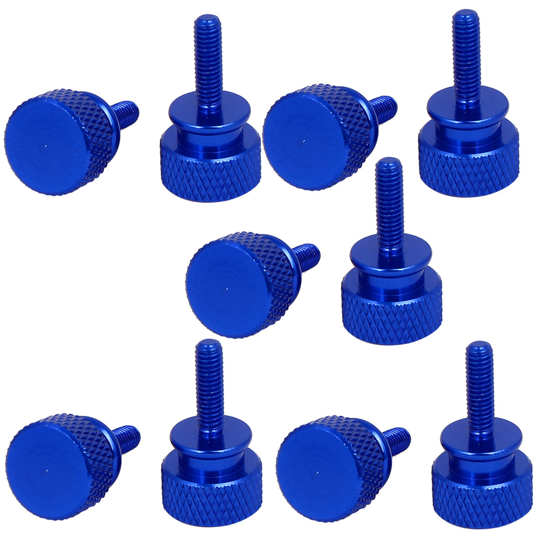Computer PC Case Fully Threaded Knurled Thumb Screws Royal Blue M3.5x12mm 10pcs