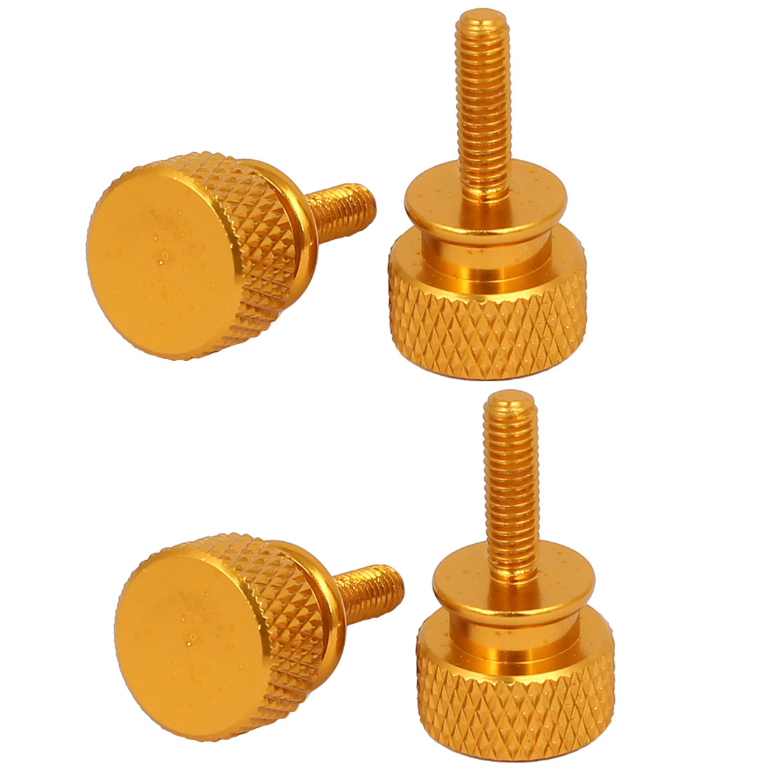Computer PC Case Fully Threaded Knurled Thumb Screws Gold Tone M3.5x12mm 4pcs