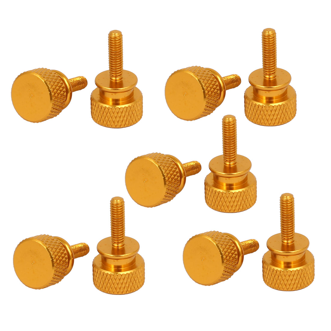 Computer PC Case Fully Threaded Knurled Thumb Screws Gold Tone M3.5x12mm 10pcs