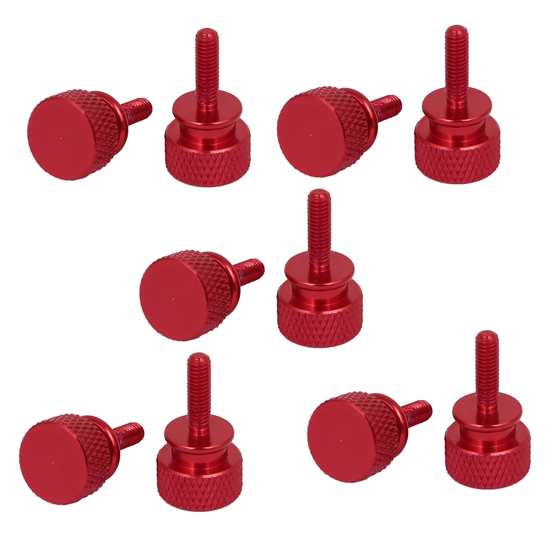 Computer PC Case Fully Threaded Knurled Thumb Screws Wine Red M3.5x12mm 10pcs