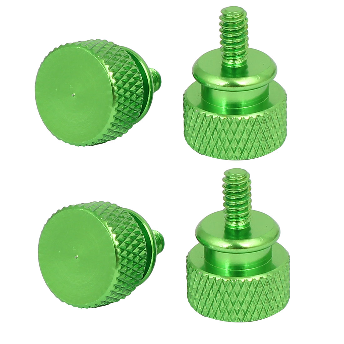Computer PC Case Fully Threaded Knurled Thumb Screws Green 6#-32 4pcs