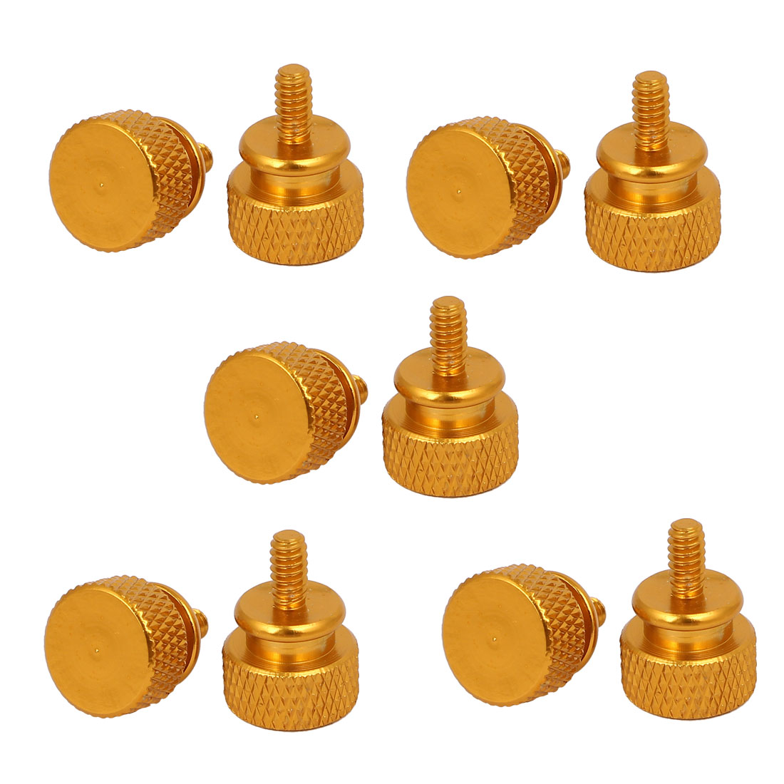 Computer PC Case Fully Threaded Knurled Thumb Screws Gold Tone 6#-32 10pcs