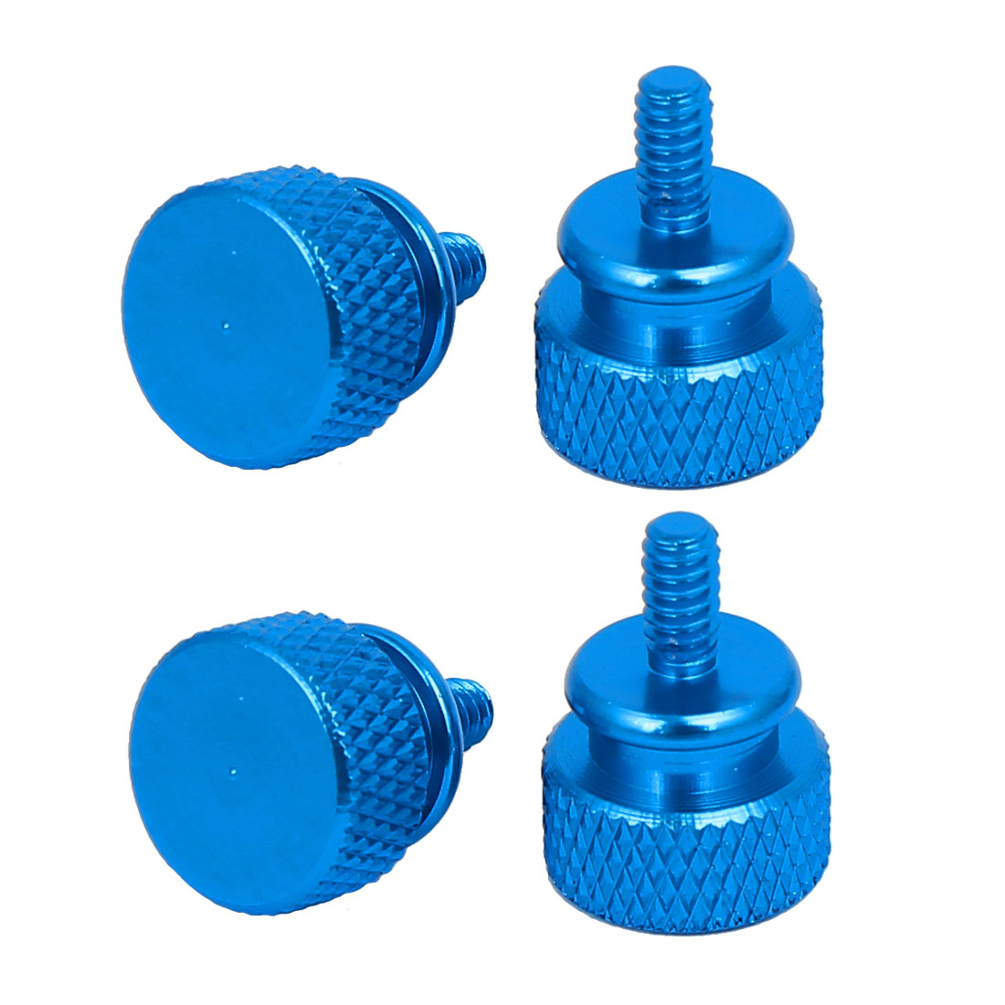 Computer PC Case Fully Threaded Knurled Thumb Screws Sky Blue 6#-32 4pcs