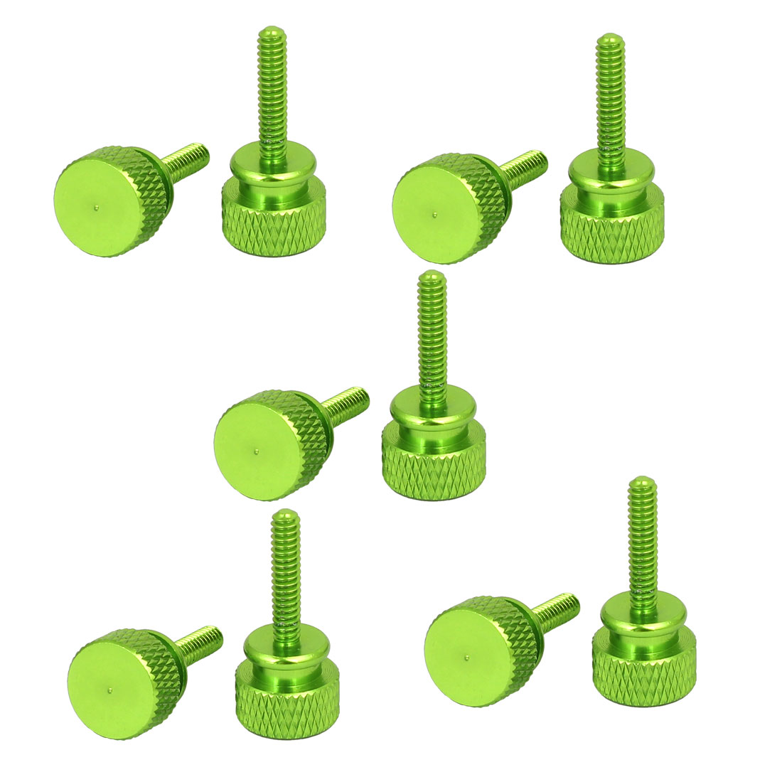 Computer PC Case Round Head Knurled Thumb Screws Green 6#-32 10pcs