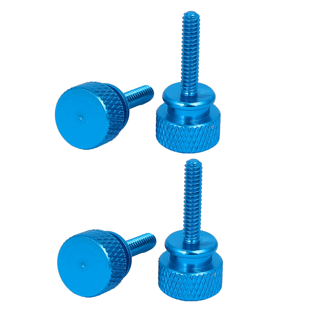 Computer PC Case Round Head Knurled Thumb Screws Sky Blue 6#-32 4pcs