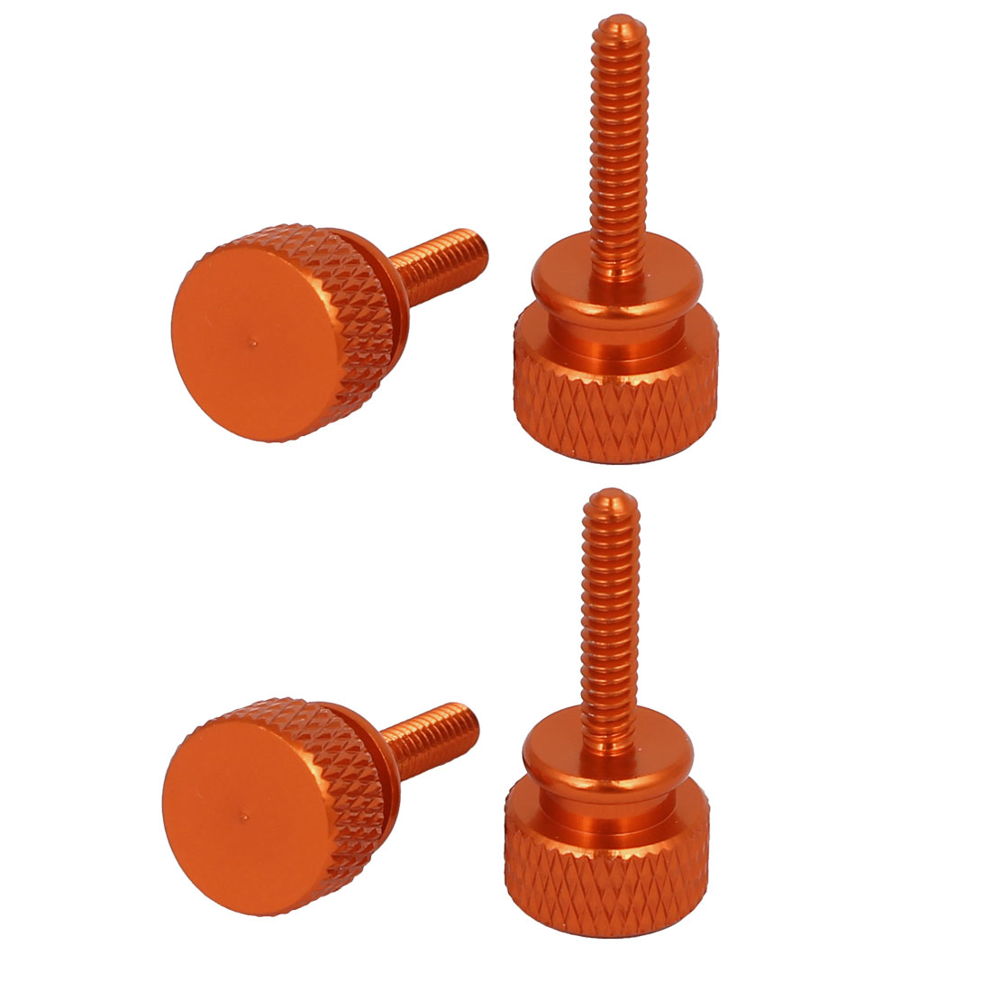 Computer PC Case Round Head Knurled Thumb Screws Orange 6#-32 4pcs