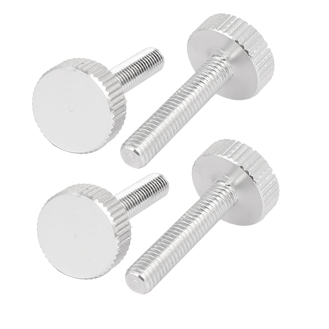 Computer PC Case Aluminum Knurled Head Thumb Screws Silver Tone M5x25mm 4pcs