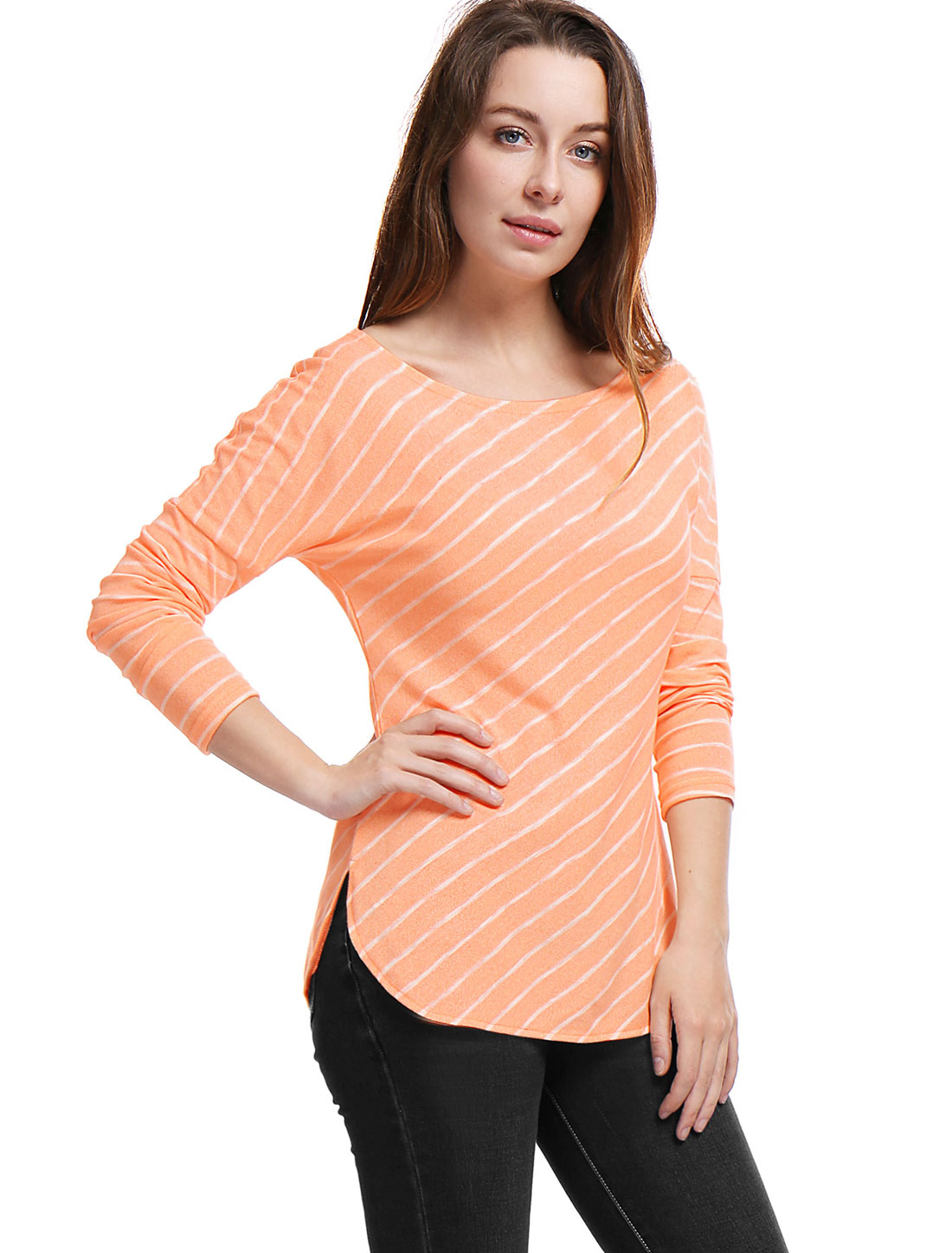 Women Stripes Scoop Neck Long Drop Sleeves Top Orange XL