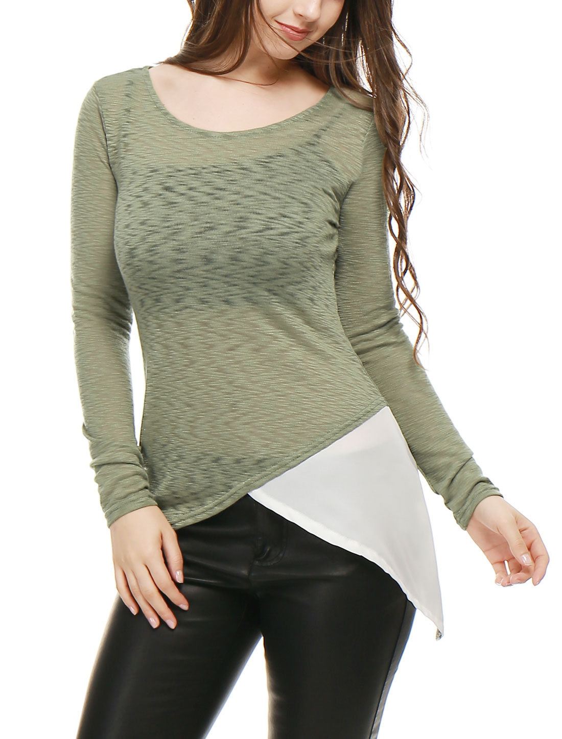 Women Asymmetric Hem Chiffon Panel Sheer Tunic Knit Top Green L