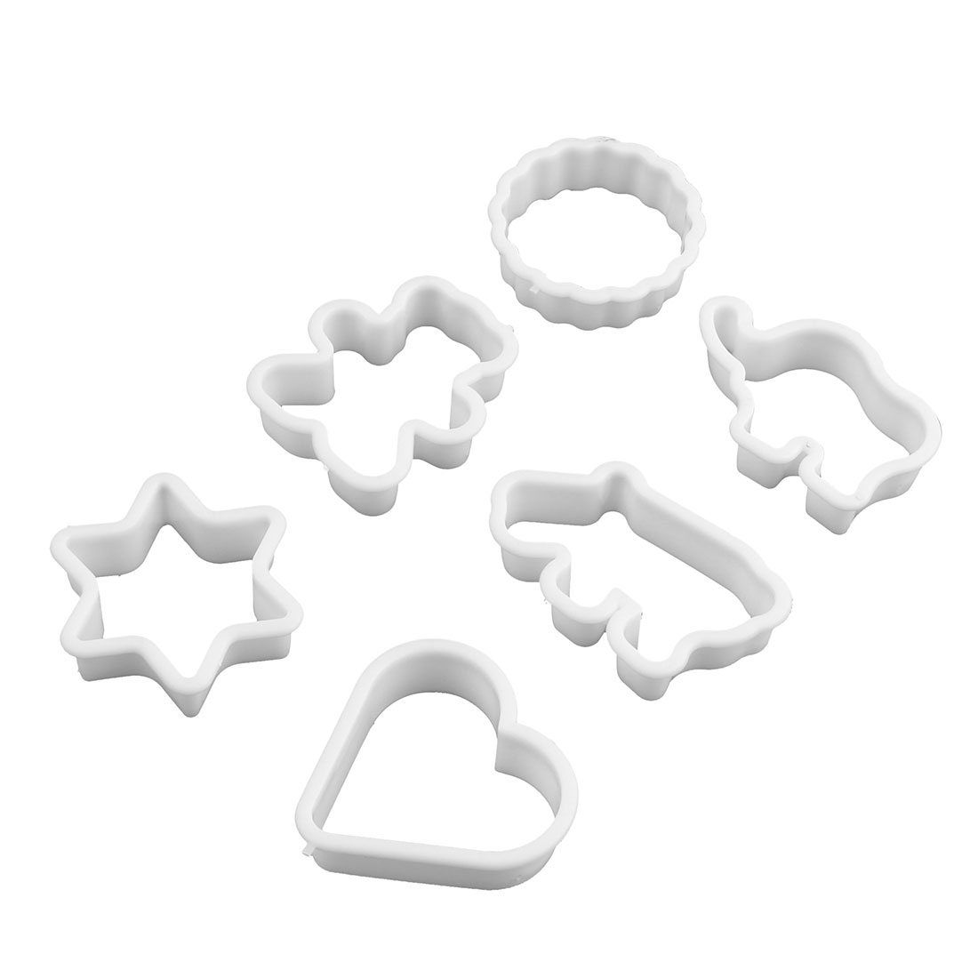 Household Kitchen Plastic Cake Pastry DIY Cookie Decor Mould White 6 in 1