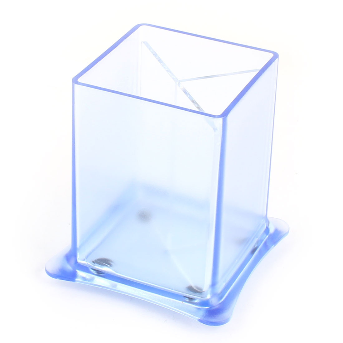 School Office Plastic Rectangular Shaped 3 Compartments Pen Storage Holder Blue