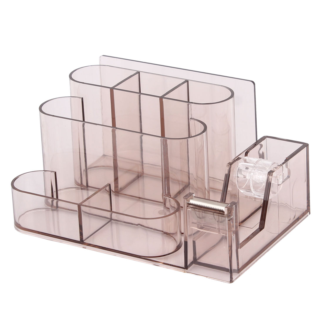 Office Plastic 6 Compartments One Tape Roller Pencil Pen Holder Clear Brown