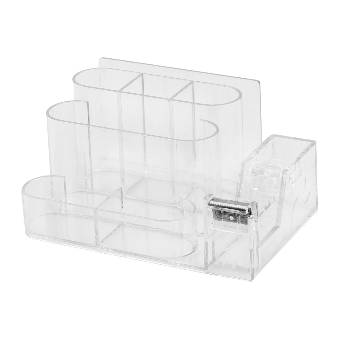 Home Office Plastic 6 Compartments One Tape Roller Pencil Pen Holder Clear