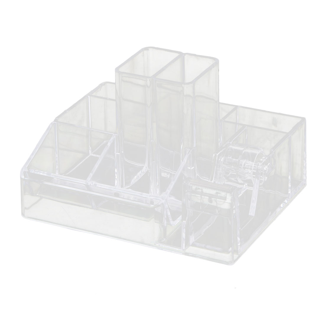 Home Office Tabletop Plastic 7 Compartments One Tape Roller Pencil Pen Holder