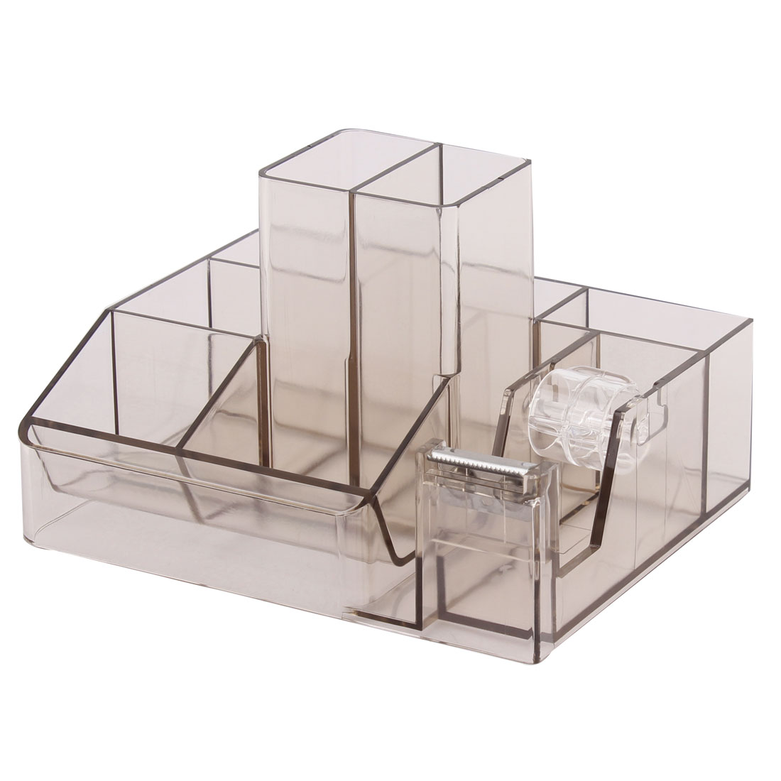 Office Plastic 7 Compartments One Tape Roller Pencil Pen Holder Clear Brown
