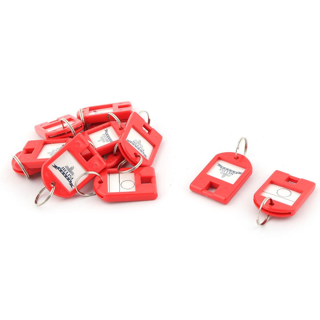 Plastic ID Label Name Tag Mark Metal Ring Key Fobs Luggage Bag Keyring Keychain Red 12pcs