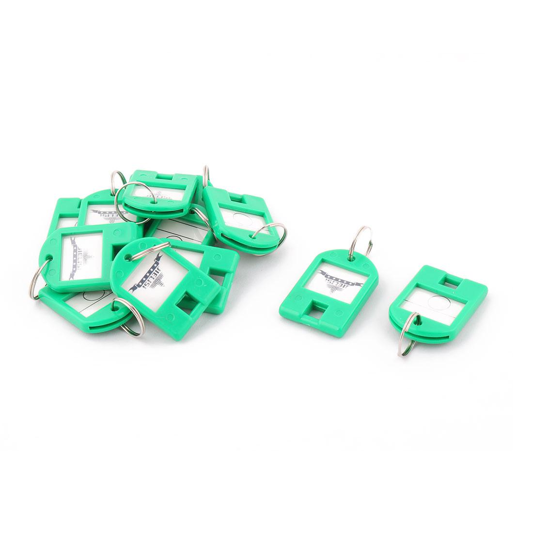 Plastic ID Label Name Tag Mark Metal Ring Key Fobs Luggage Bag Keyring Keychain Green 12pcs