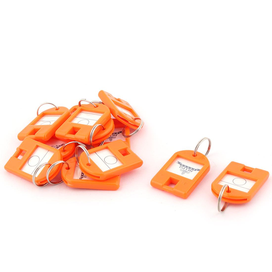Plastic ID Label Name Mark Metal Ring Key Fobs Luggage Bag Keyring Orange 12pcs