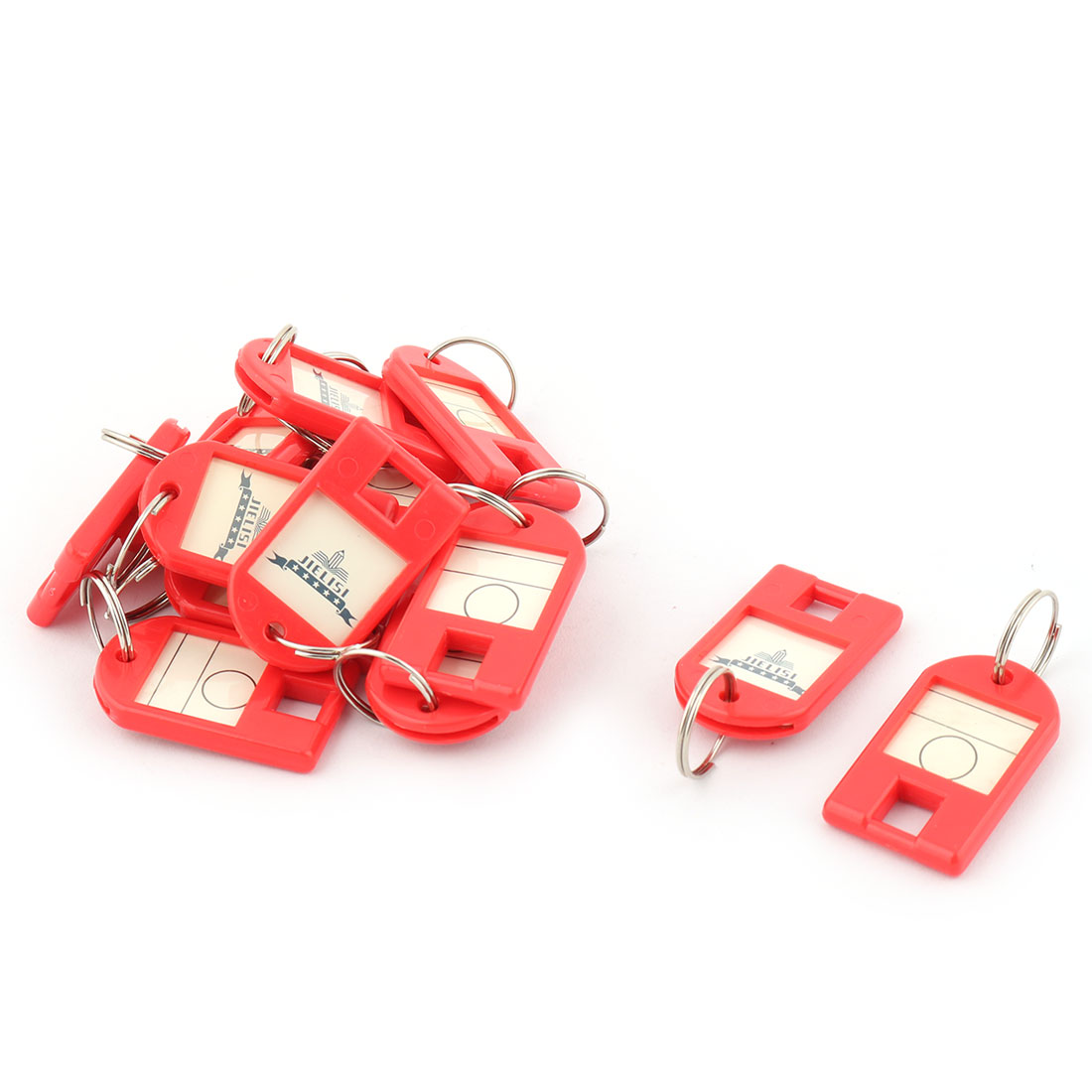 Metal Ring ID Label Name Tag Key Fobs Luggage Bag Marking Keyring Keychain Red 15pcs