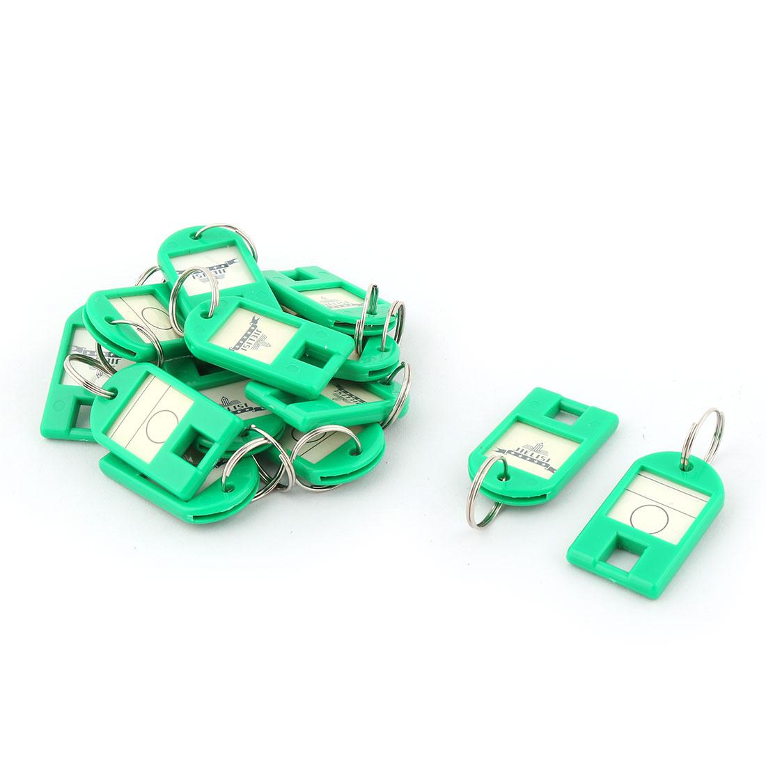 Metal Ring ID Label Name Tag Key Fobs Luggage Bag Marking Keyring Keychain Green 15pcs