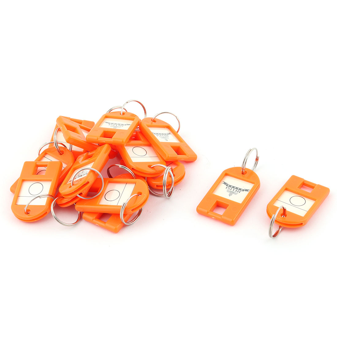 Metal Ring ID Label Name Tag Key Fobs Luggage Bag Marking Keyring Keychain Orange 15pcs